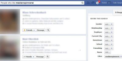 Die Fans der Medienspinnerei im Graph Search von Facebook