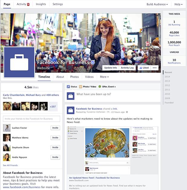 Redesign Facebook Seiten - Übersicht (Quelle: Facebook)