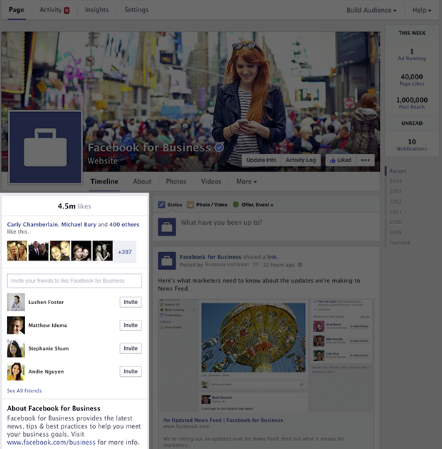 Redesign Facebook Seiten - Infobereich (Quelle Facebook)
