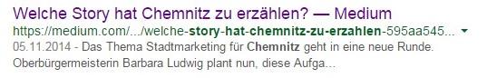 """Google Suche zum Medium Artikel """"Welche Story hat Chemnitz zu erzählen"""""""