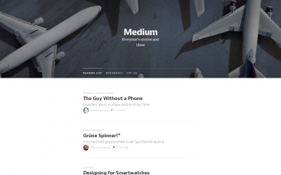 Medium Startseite (Screenshot)