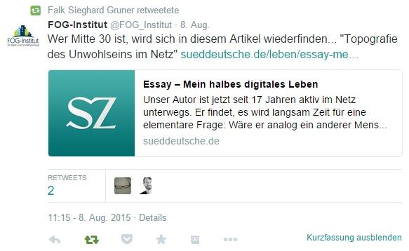 Falk Sieghard Gruner Twitter Retweet FOG Institut