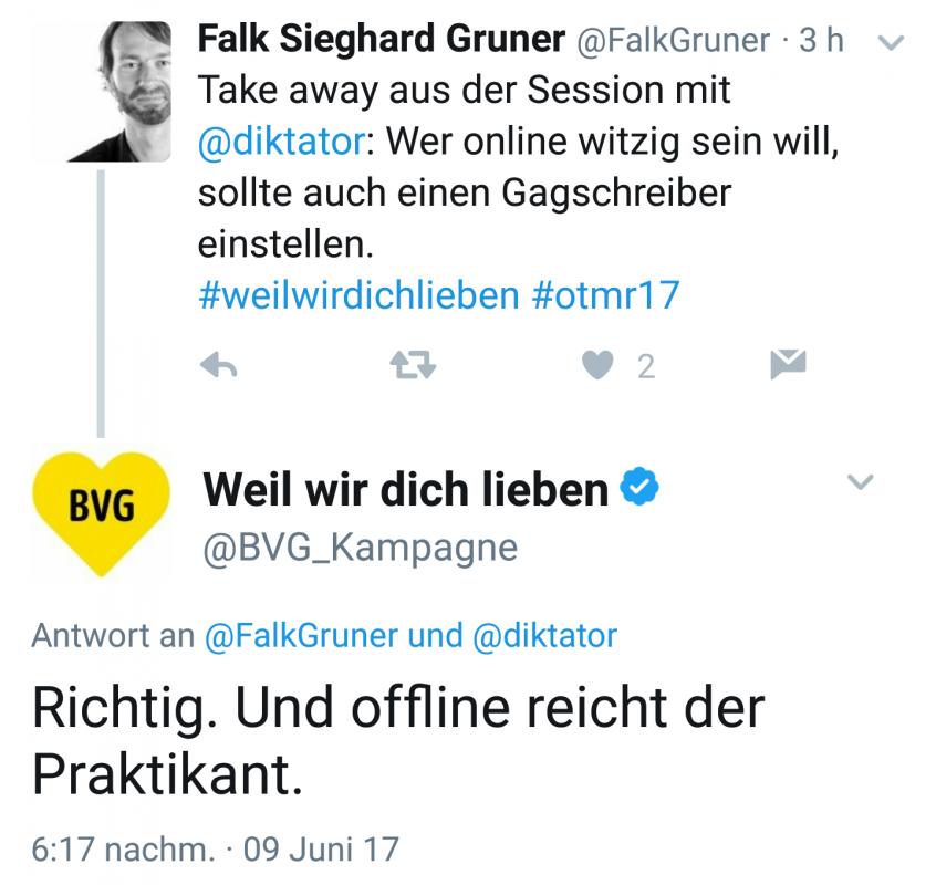 OTMR17 - Peter Wittkamp trollt sich via BVG selbst